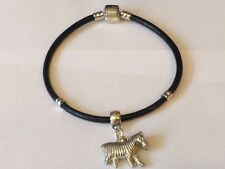 Zebra TG315 Made From Fine English Pewter on a Faux Leather Snake Bracelet