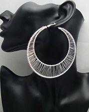 1Pr of Basketball Wives Earring Big Hoop Circle Silver Color earrings stud