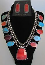 Native American Navajo Sterling Squash Blossom Necklace Set Signed Betty Joe