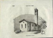 Stampa antica ISOLA COMACINA San Giovanni Lago di Como 1859 Old antique print