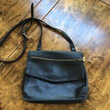 womens handbags and purses/Fossil Black Leather Cross Body Messenger Bag