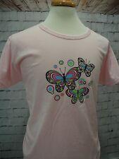 New~Women's Pink Jerzees T-Shirt w/Multi-Colored Butterflies ~ Size XL