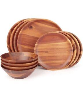 Aidea Wood Dinnerware Set 12pcs Acacia wood Tableware Set, Service for 4