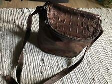 Unisa Leather Mahogany Color Crocodile Print Bucket Bag