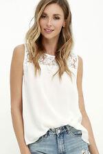 Fashion Women Chiffon Lace Sleeveless Shirt Loose Blouse Casual Tank Top Vest