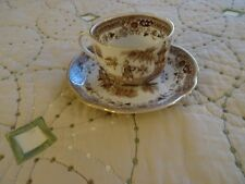 Arabia Finland Saucer and tea cup, Brown Asian Scene, (4)