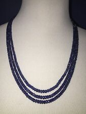 Natural Blue Sapphire Beaded Gemstone Necklace 244 Carats New Genuine