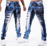 Highness Homme Pantalon Jeans Coupe Large ´S Wear Patchs Rivets Lavage 865-1