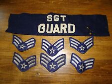 Vintage SGT GUARD Military Armband Brassard VHTF with 6 USAF Sargent Patches
