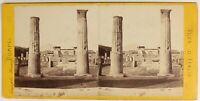 Pompei Ruines Italia Foto Stereo PL55L3n Vintage Albumina c1870