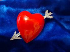 Bob Mackie Cupid Arrow Heart Red Enamel with Rhinestones Brooch Pin in Box