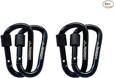 Prosperity UK Carabiner Clip 4 pcs   Strong Black Aluminium Hook D-shaped D-ring