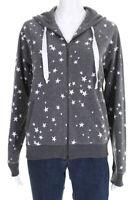 Juvia Womens Crew Neck Long Sleeve Hoodie Sweater Gray White Cotton Size XS