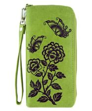 LAVISHY PEONY & BUTTERFLY LARGE ZIPPER WALLET VEGAN FAUX LEATHER NEW (7-0212Grn)