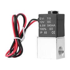 """12V DC 1/4"""" 2Way Pneumatic Aluminum Electric Solenoid Air Valve fr Gas Liquid AF"""