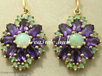 E095 - Genuine 9K 9ct Solid Gold Natural AMETHYST & OPAL Drop Earrings STUNNING