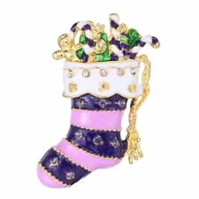 Trendy Christmas Gifts Stocking Brooch Pin Crystal Costume Rhinestone Jewelry