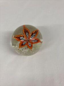 Beautiful Glass Flower Ball Paperweight