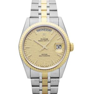 TUDOR  Prince Date Day  76213-0016 Champagne Dial Men's Watch Genuine FreeS&H