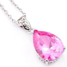 Classical Teardrop Natural Sweet Pink Topaz Platinum Plated Necklace Pendant