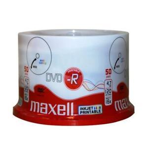 100 STÜCK MAXELL DVD-R 16x 4,7 GB PRINTABLE BEDRUCKBAR ROHLINGE NEUWARE SPINDEL