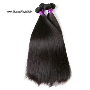 Virgin Human Hair Straight Weave Hair Bundles Extensions Doubt Weft 100g/Pcs 1B