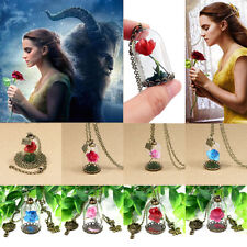 Beauty And Beast Necklace Pendant Charm Jewelry Belle Princess Wish Rose Glass