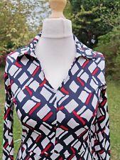 Vintage Red white blue abstract diamond dress UK 10/12 silk stretch stunning