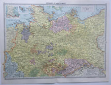 Map Of Germany North West Prussia  1930 Antique Large
