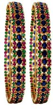 Broad Bangle Pair 92.5 Silver Natural Gemstones Ruby~ Emerald ~Blue-Sapphire