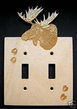 Laser Engraved Moose Electric Double Switch Plate Cover