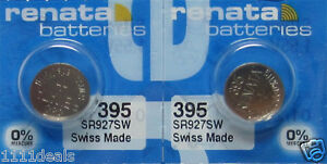 Fresh New 2 Pc Renata OEM Replacement Battery Cell 395 SR927SW