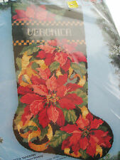 "Christmas Bucilla Needlepoint Stocking Kit,POINSETTIA TAPESTRY,Baatz,18"",#60725"