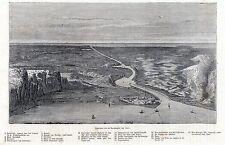 Antique map Suez canal Egypt 1865 stampa antica Egitto / holzstich Sues