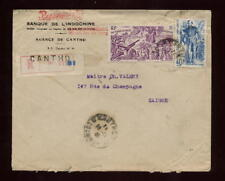 FRENCH INDOCHINA CANTHO REGISTERED 1948 BANK COVER...INTERNAL