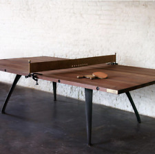 """108"""" Rustic Industrial Modern Wood Ping Pong Dining Conference Table Leather Net"""