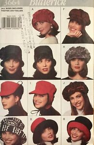 Hats Flower WIG BUCKET Veil SNOOD Vtg 1940s Butterick 8880 Fabric Sewing Pattern