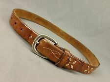 Guess Leather Belt Western Stitched Flower Distressed Buckle Brown Small 26