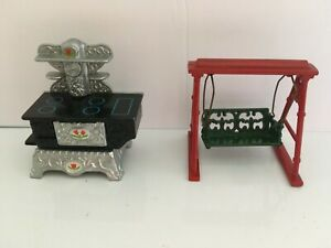 1980 Mattel Cleveland Cast Old Stove and Metal Swing 1:24 Inch Scale