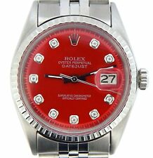 Rolex Datejust Mens Stainless Steel Watch Engine-Turned Bezel Red Diamond Dial