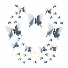 48pcs 3D Butterfly Wall Stickers Decals Home Bathroom Decor DIY silver