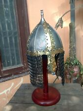 Dark Age Medieval Norman Helm With Chain-Mail Hood And Brass Decoration