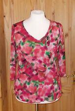 PER UNA fuchsia pink red green stretch chiffon 3/4 sleeve tunic top 18 46 M&S