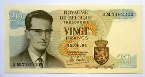 BELGIUM BANKNOTE - 20 FRANCS - 1964 - ATOM P 138 UNC 'UNCIRCULATED'.