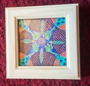 Miniature Hand-Painted Framed Picture of a Mandala 7 cm x 7cm