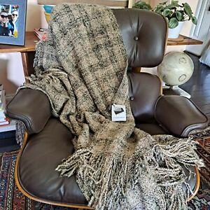 "Throw Blanket New Hampshire Artisan Made Woven Boucle Yarn USA Soft 40"" x 70"""