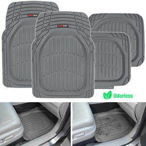 Deep Dish Heavy Duty Rubber Car Floor Mats 4pc Front Rear in Gray All Weather