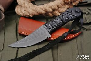 Custom Hand Forged D2 Steel HUNTING SKINNER Fix Blade Knife + Leather Sheath