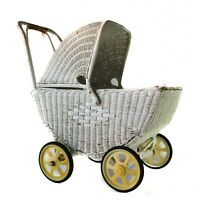Vintage Antique Wicker Baby Doll Buggy Stroller Carriage White Large Old Hood