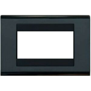 Placca Compatibile Bticino Living Classic Nera 3 4 Posti + Supporto Incluso